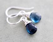 Midnight Drop Earrings London Blue Topaz Blue Dangle Birthstone