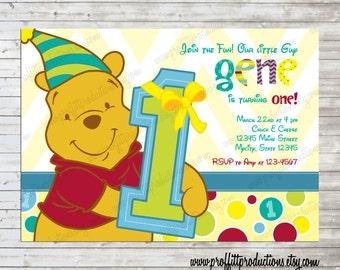 Modern Winnie the Pooh 1st Birthday Invitation, girl or boy