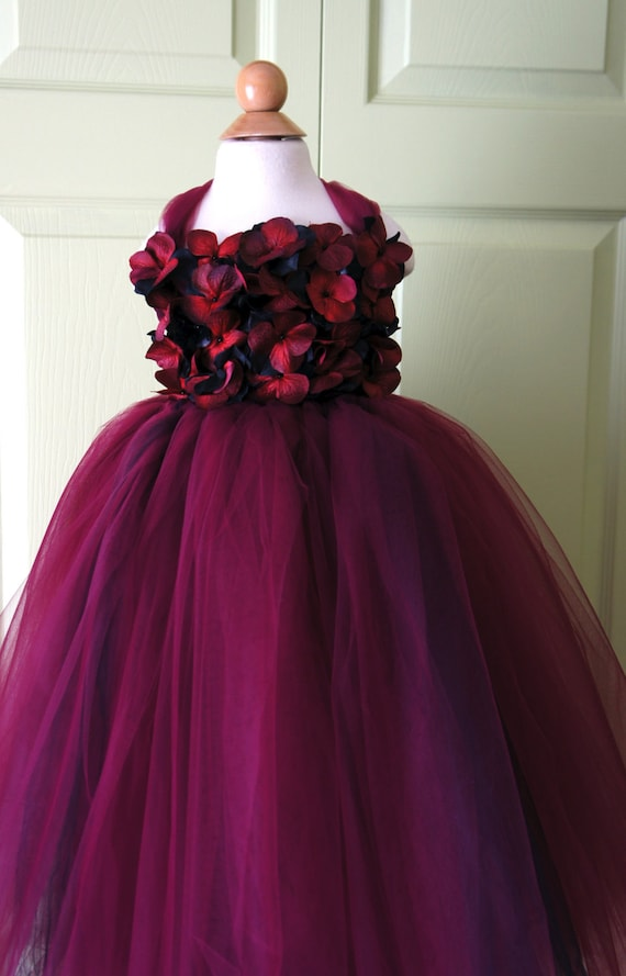 Flower girl dress Marsala Dress Wine Red and Black by ...