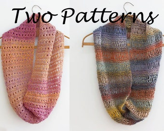 Two  Circle Scarf Knitting Patterns, Cowl PDF Patterns, Digital Download,  Knit Infinity Scarf Pattern, Unisex Eternity Scarf