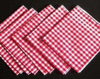 Gingham Napkin Set (Red - Set of 5)