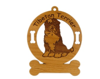 4174 Tibetan Terrier Sitting Personalized Dog Ornament