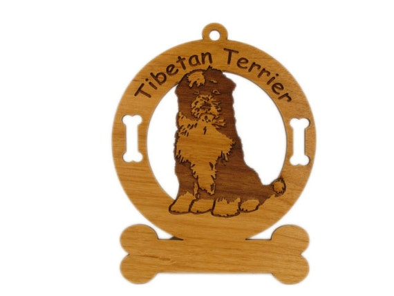 4174 Tibetan Terrier Sitting Personalized Dog Ornament