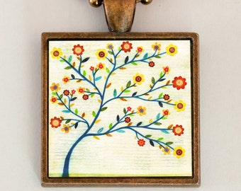 Tree Necklace - Floral Necklace - Tree Pendant - Handmade Jewelry by Mixed Media Artist Sascalia
