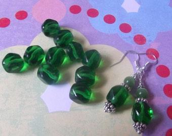 Czech Green Glass Beads, Squared Rounds, 10 pcs   8000-418