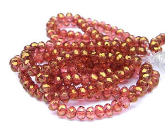 Sale! - 30pcs Czech Strawberry Pink Glass Rondell Beads 3mm x 5mm