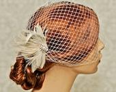 Bridal Birdcage Veil Feather Fascinator,Ivory bridal Veil,birdcage veil, Feather HairPiece, Wedding Hair Accessories,blusher veil