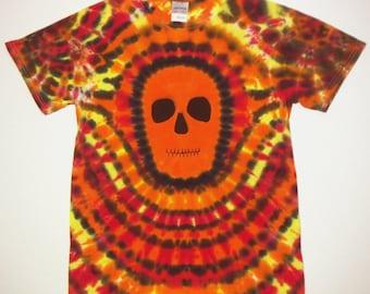 Tie Dye Shirt, Orange Faced Skull,  Size Small