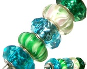 MERZIEs 5 silver lampwork glass faceted acrylic European Charm large hole chain beads - turquoise blue green white