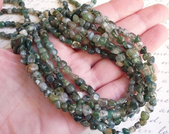 Green Rutilated Tourmalated Moss Agate  Pebble  Nugget Beads , Small 5mm 6mm 7mm Nugget Beads