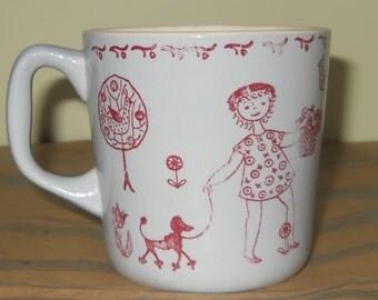 Vintage Jump Rope Jane, Stavangerflint  Norway Earthenware Childs Mug Cup, Signed Kari, Springtime Art Pottery, Mid Century