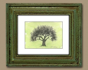 Olive Tree Drawing Moss Green Watercolor Painting Print