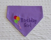 Birthday Dog Bandana for GIRL in COLLAR Style Choose Fabric & Sizes S to XL