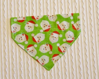 Dog Bandana with Santa Faces on Lime Green Sizes XS to L