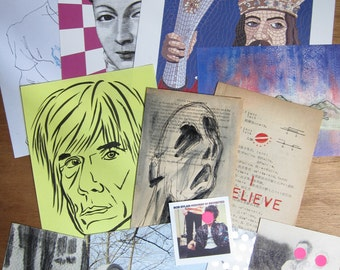 SUPER SALE - 12 Artworks (original drawings and collages, found prints)