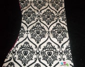 Double minky Damask and pink  Burp Cloth