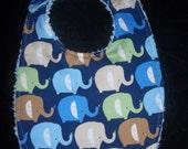 Elephant  Bib with baby blue chenille backing