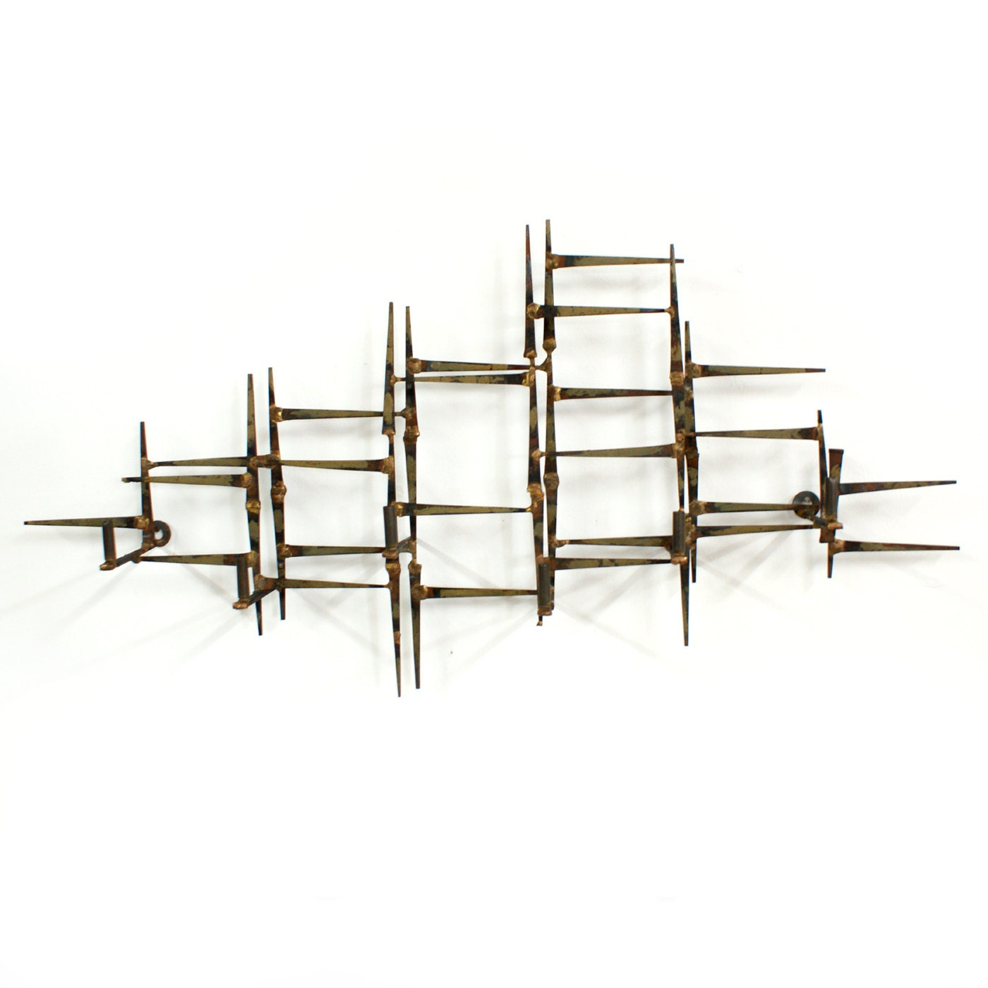 brutalist abstract metal wall sculpture mid century modern. Black Bedroom Furniture Sets. Home Design Ideas