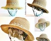 WALKER Crochet Sun Hat, USA Pattern, 4 sizes, toddler to adult,