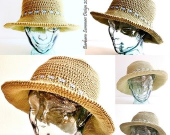 WALKER Crochet Sun Hat, USA Pattern, 4 sizes, toddler to adult,