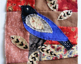 Birdy  -  Applique textile art, hand stitched for you to frame.