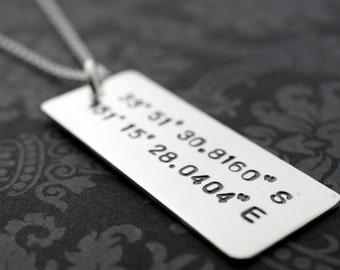 Graduation Gift - Latitude Longitude Custom Coordinates Necklace - Personalized Sterling Silver Jewelry w/ Custom Coordiantes by EWD