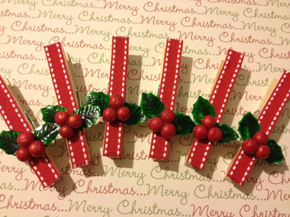 Clothes pins christmas ornament package topper wrapping for Christmas clothespin crafts