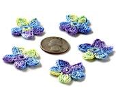 Crochet Applique Mini Flower Motif Flower Embellishment Blue Purple Yellow Crochet Flower Applique Crochet Motif Crochet Flower Motif