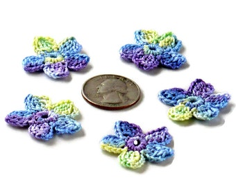 Crochet Applique Mini Flower Motif Flower Embellishment Blue Purple Yellow Crochet Flower Applique Crochet Motif Crochet Flower Motif