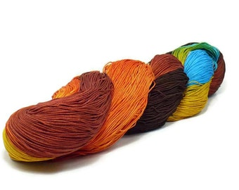 150 Yards Hand Dyed Cotton Crochet Thread Size 10 3 Ply Specialty Thread Brown Golden Yellow Warm Orange Blue Hand Painted Fine Cotton Yarn