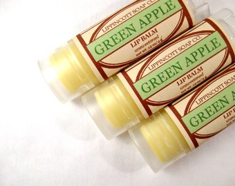 Green Apple Lip Balm - Unsweetened Lip Balm - Beeswax Lip Balm - Phthalate Free - Oval Tube - Lanolin Lip Balm - Tart Apple Lip Balm
