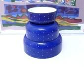 Kaj Franck Inspired Blue Enamel Bowls with White Dots