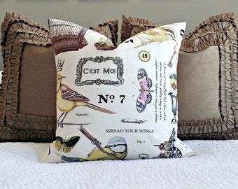 Ivory Botanika Wing Study Pillow Cover - 20x20 - Bird Pillow