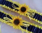 Sunflower Bridal Garter Set Sunshine Yellow Navy Blue Wedding Garter