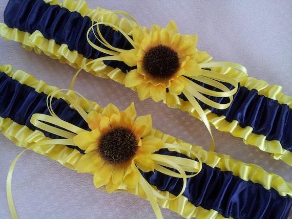 Sunflower Bridal Garter Set Sunshine Yellow Navy Blue Wedding