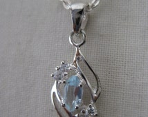 Blue Topaz Marquise Necklace Sterling Silver Vintage Pendant 925 Avon