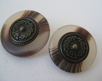 Brass Brown Buttons Metal Plastic Vintage Two