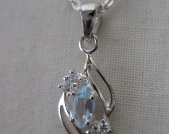 Blue Topaz Marquise Necklace Sterling Silver Vintage Pendant 925 Avon