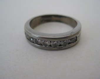 Crystal Clear Stone Ring Sterling Silver Band Vintage Size 8 1/4 925