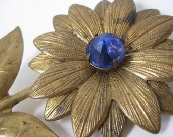 Flower Blue Brooch Rhinestone Brass Vintage Pin
