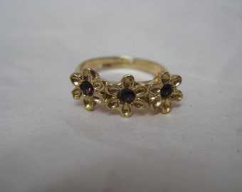 Flower Purple Rhinestone Ring Gold Vintage Adjustable