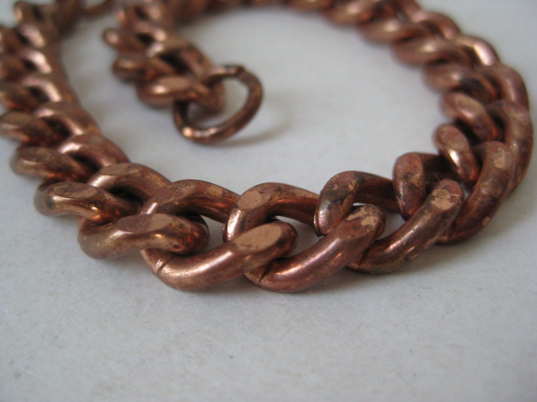 chunky copper bracelet chain link vintage