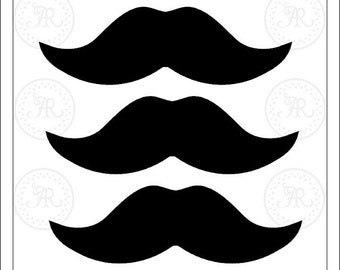 75 mustaches moustache 3 inches stache cupcake toppers mustache straws photo booth props decorating invitations FREE Comb Shipping - Annie42