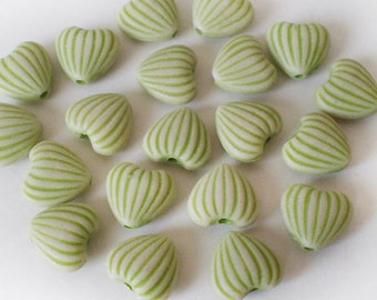 SALE 20pcs - 10x11mm Lime Green Heart acrylic beads