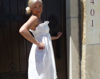 Shirred Strapless DRESS - White Flowers with Extra detail - Made in ANY Size - Boutique Mia by CXV