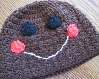 Gingerbread boy or girl crochet hat