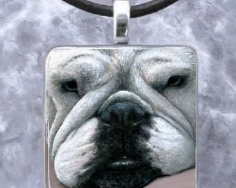 Art Glass Pendant 1x1 Dog 118 English Bulldog Jewelry Necklace from art painting by L.Dumas