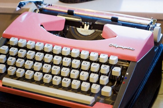Retro Pink Olympia Deluxe Working Manual Typewriter