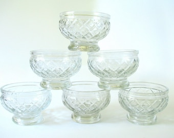 6 Vintage Mid Century Short Clear Glass Footed Sherbert Cups