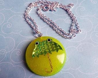 Froggy Umbrella Resin Necklace